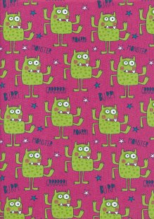 Craft Cotton Co - Monsters Monsters Green and Pink