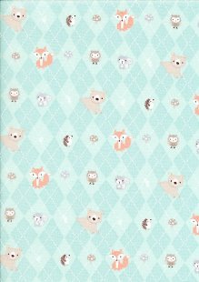 Craft Cotton Co - 3 Wishes Little Forest Animals in Argle Turquoise