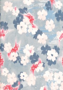 Craft Cotton Co - 3 Wishes Little Marbella Floral with Berries Grey