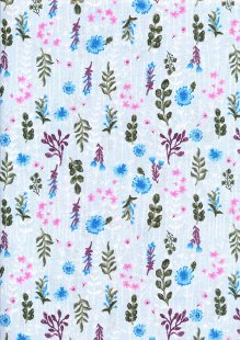 Craft Cotton Co - Flora and Fauna Floral Pale Blue