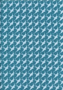 Craft Cotton Co - Flora and Fauna Birds Teal