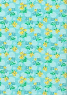 Craft Cotton Spring Is In The Air - Painted Floral Turquoise
