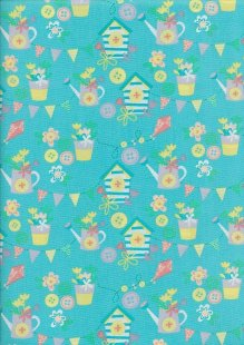 Craft Cotton Spring Is In The Air - Garden Fun Turquoise