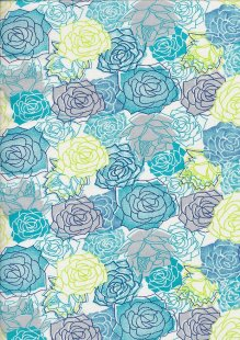 Craft Cotton Floral Sketch - Rose White