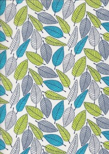Craft Cotton Floral Sketch - Leaf White
