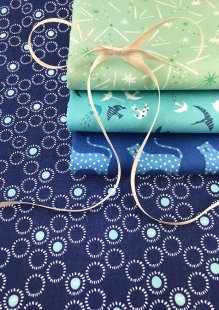 Dashwood Studio - Ditsies 4 x Fat 1/4 Pack Turquoise & Blue