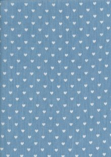 Cotton Chambray - Mini Hearts On Blue