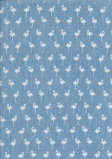 Cotton Chambray - Pelicans On Blue