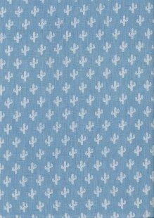 Cotton Chambray - Cacti  On Blue