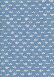 Cotton Chambray - Crowns On Blue