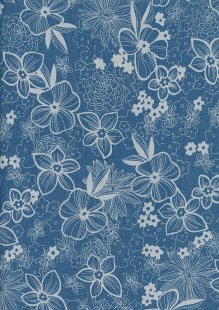Cotton Chambray - Large Floral On Blue