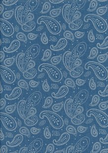 Cotton Chambray - Paisley On Blue