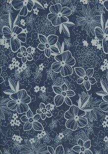Cotton Chambray - Large Floral On Navy