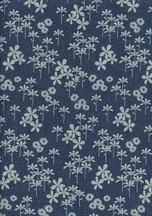 Cotton Chambray - Floral With Seed Pod On Navy