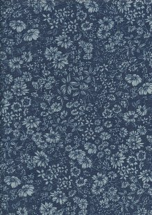 Cotton Chambray - Compact Floral On Navy