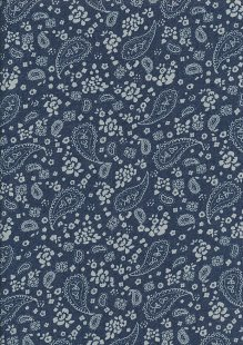 Cotton Chambray - Cream Paisley On Navy