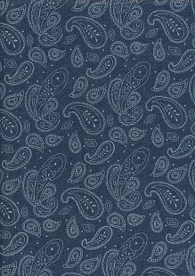 Cotton Chambray - Paisley On Navy