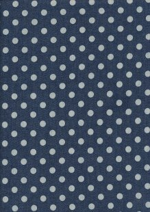 Cotton Chambray - Spots On Navy