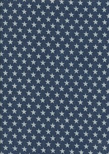 Cotton Chambray - Stars On Navy