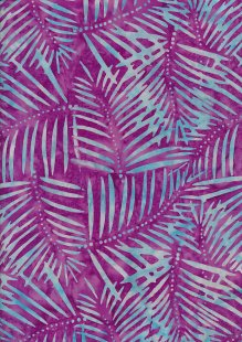 Doughty's Exclusive Bali Batik - Palm Leaves Blue On Purple