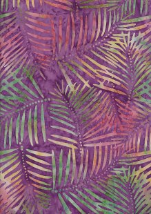 Doughty's Exclusive Bali Batik - Palm Leaves Yellow On Purple