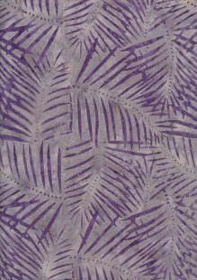 Doughty's Exclusive Bali Batik - Palm Leaves Purple On Grey