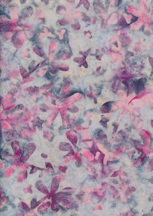 Doughty's Exclusive Bali Batik - Pressed Flowers Pink On Grey