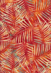 Doughty's Exclusive Bali Batik - Palm Leaves Yellow On Orange