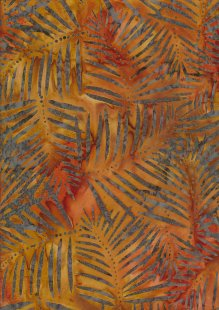 Doughty's Exclusive Bali Batik - Palm Leaves Grey On Orange