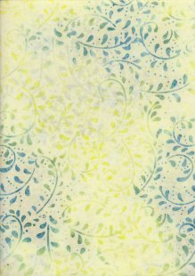 Doughty's Exclusive Bali Batik - Vines Blue On Yellow