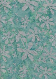 Doughty's Exclusive Bali Batik - Pressed Flowers Grey On Turquoise