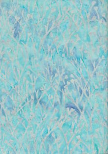 Doughty's Exclusive Bali Batik - Sprigss Grey On Turquoise