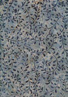Doughty's Exclusive Bali Batik - Vines Blue On Grey