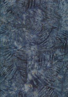 Doughty's Exclusive Bali Batik - Palm Leaves Grey On Blue