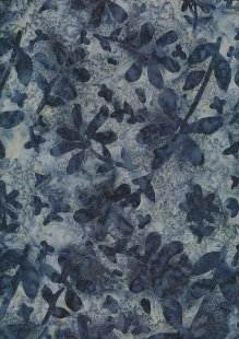Doughty's Exclusive Bali Batik - Pressed Flowers Blue On Grey