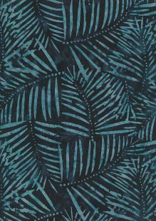 Doughty's Exclusive Bali Batik - Palm Leaves Turquoise On Blue