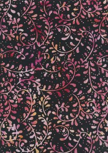 Doughty's Exclusive Bali Batik - Vines Pink On Black