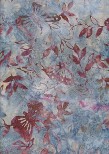 Doughty's Exclusive Bali Batik - Butterflies Rust On Blue