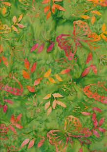 Doughty's Exclusive Bali Batik - Butterflies Orange On Green