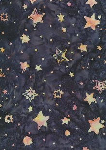 Doughty's Exclusive Bali Batik - Stars Orange On Blue