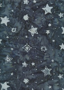 Doughty's Exclusive Bali Batik - Stars Grey On Blue