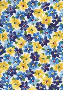 Craft Cotton Co - Blue & Yellow Floral White