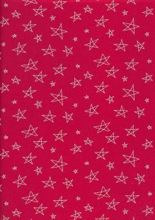 John Louden Scandi Christmas - Cream Sketched Stars Red 2