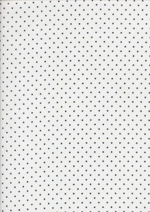 Brushed Cotton Twill Spot -Blue On White