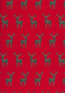 Christmas - Green Reindeer On Red