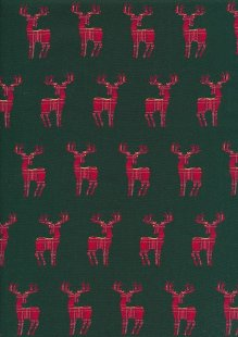 Christmas - Red Reindeer On Green