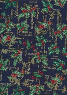 Christmas - Gilded Holly On Navy