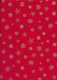 Christmas - Gilded Star & Snowflake On Red
