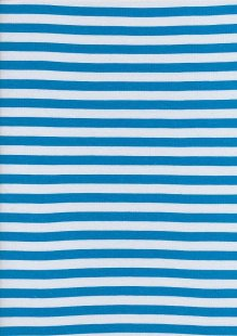 Cotton Spandex Jersey Stripe - Turquoise & White