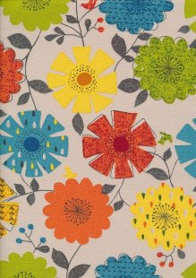 Cotton Canvas Print - Orange, Yellow & Tuquoise Floral Sketch